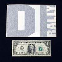 DIrally Rectangle Decal - Big / Black (with Dollar for Scale)