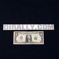 DIrally.com Decal - Black (with Dollar for Scale)