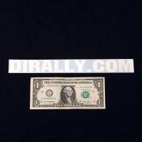 DIrally.com Decal - White (with Dollar for Scale)